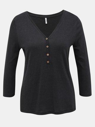 Čierne tričko s 3/4 rukávom ONLY Rosely
