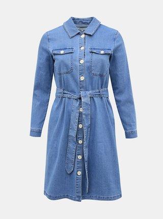 Modré džínové košilové šaty ONLY CARMAKOMA Donim