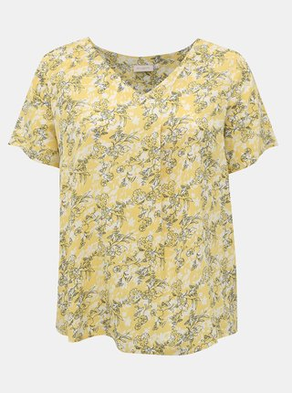 Žltá kvetovaná blúzka ONLY CARMAKOMA Bloom