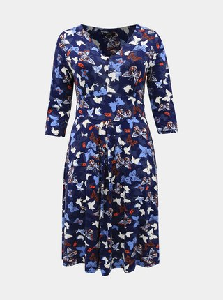 Tmavomodré vzorované šaty M&Co