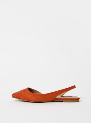 Oranžové baleríny v semišové úpravě ONLY Anas