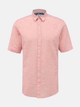 Růžová lněná košile ONLY & SONS Caiden