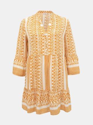 Bílo-žluté vzorované šaty ONLY CARMAKOMA