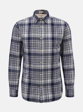 Modrá kockovaná slim fit košeľa Selected Homme Carl