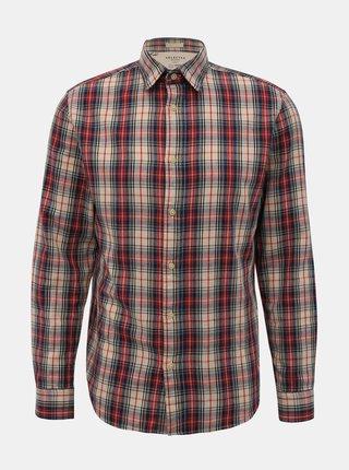 Červeno-béžová kockovaná slim fit košeľa Selected Homme Carl