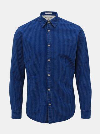 Tmavomodrá pruhovaná slim fit košeľa Selected Homme Nolan
