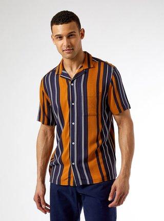 Modro-oranžová pruhovaná košile Burton Menswear London