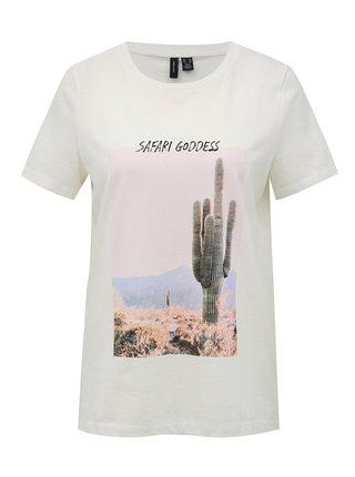 Bílé tričko s potiskem VERO MODA Desert
