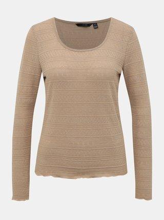 Béžové vzorované tričko VERO MODA Hazel