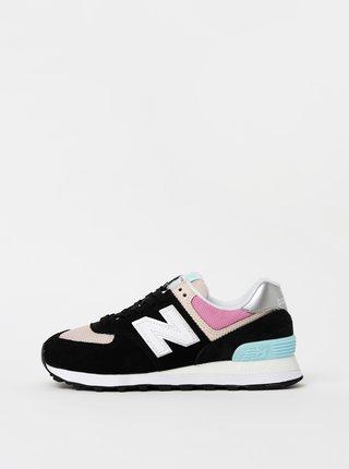 Ružovo-čierne dámske semišové tenisky New Balance 574