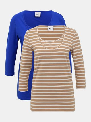 Sada dvoch tehotenských/dojčiacich basic tričiek v hnedej a modrej farbe Mama.licious Lea
