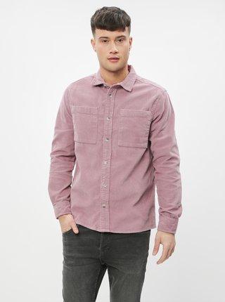 Růžová manšestrová košile Burton Menswear London