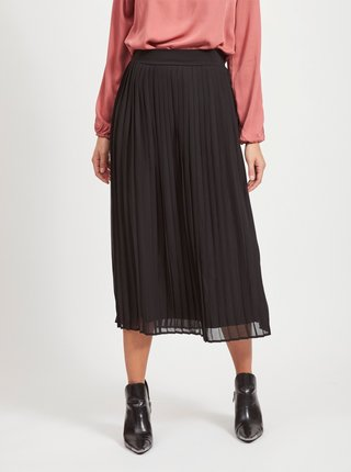 Čierna plisovaná midi sukňa VILA Plissea