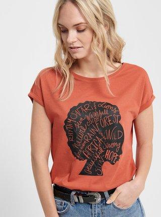 Cihlové tričko s potiskem Jacqueline de Yong Alana