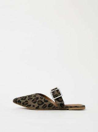 Kaki šľapky s leopardím vzorom Pieces Nua