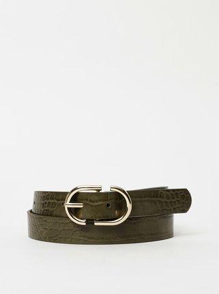 Khaki pásek s krokodýlím vzorem Pieces Nadina
