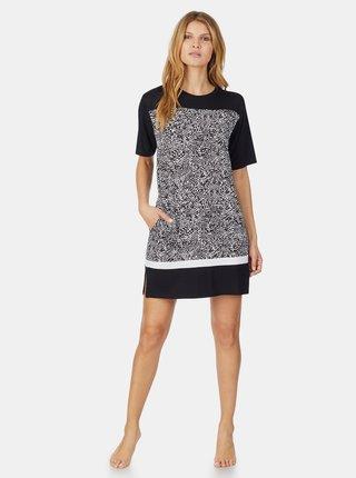 Černá vzorovaná noční košile DKNY