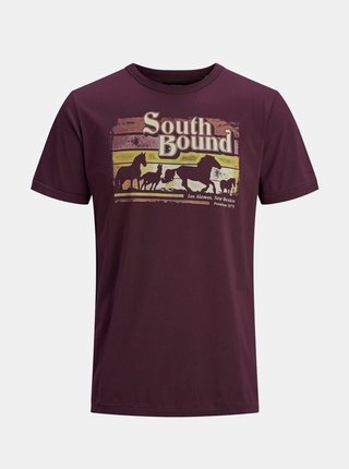 Vínové tričko s potiskem Jack & Jones Harry