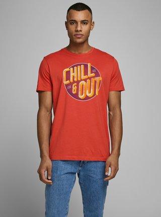 Oranžové tričko s potiskem Jack & Jones Grove