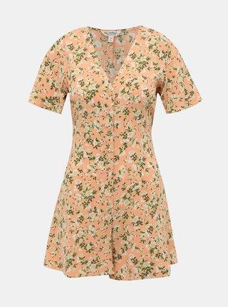 Ružový květovaný overal Miss Selfridge