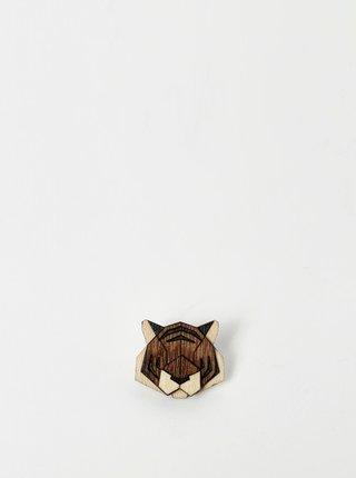 Drevená brošňa v tvare tygra BeWooden