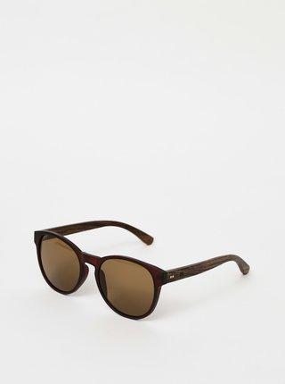 Tmavohnedé drevené slnečné okuliare BeWooden The Gryphon