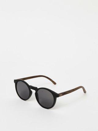 Čierne drevené slnečné okuliare BeWooden Lukas