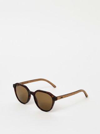 Tmavohnedé vzorované slnečné okuliare BeWooden Francis