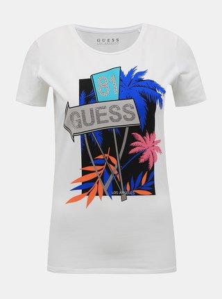 Bílé dámské tričko s potiskem Guess