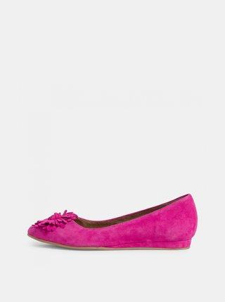 Růžové semišové baleríny Tamaris