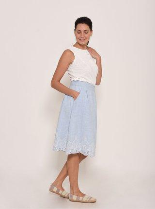 Modrá pruhovaná sukně s madeirou Brakeburn