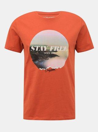 Oranžové tričko s potlačou Jack & Jones Fading