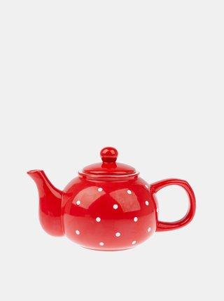 Červená bodkovaná kanvička na čaj Dakls