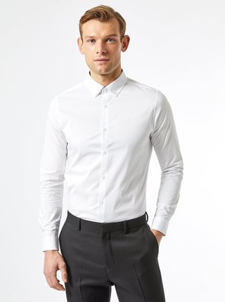 Biela slim fit košeľa Burton Menswear London