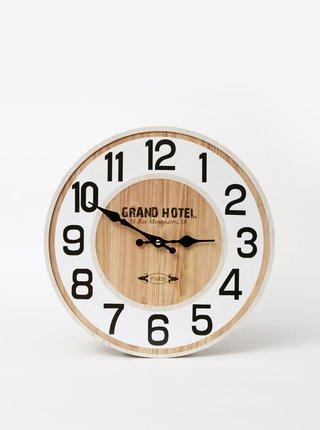 Bílo-hnědé nástěnné hodiny Dakls
