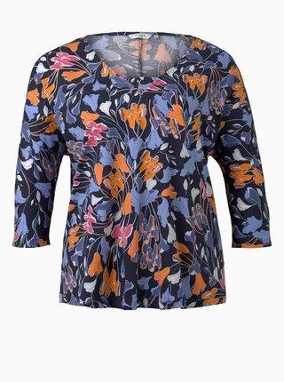 Tmavě modré dámské květované tričko My True Me Tom Tailor