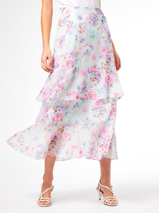 Svetloružová kvetovaná midi sukňa Dorothy Perkins
