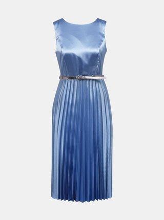 Modré saténové šaty s plisovanou sukňou Dorothy Perkins