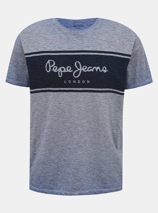 Modré pánske tričko s potlačou Pepe Jeans Edwin