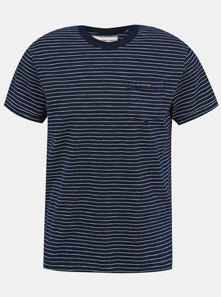 Tmavomodré pánske pruhované tričko Pepe Jeans Gibbon