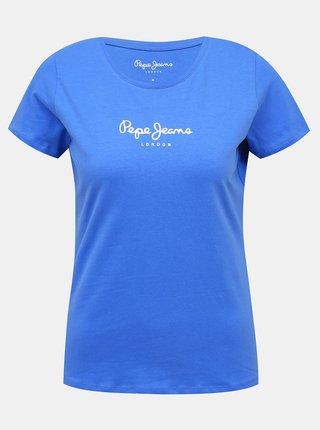 Modré dámské tričko s potiskem Pepe Jeans Virginia