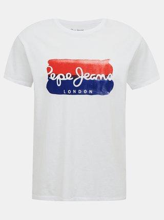 Bílé pánské tričko s potiskem Pepe Jeans Milburn