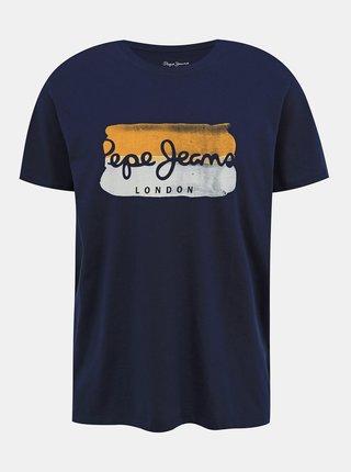 Tmavě modré pánské tričko s potiskem Pepe Jeans Milburn