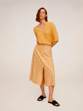 Žlutá midi sukně Mango Domenica