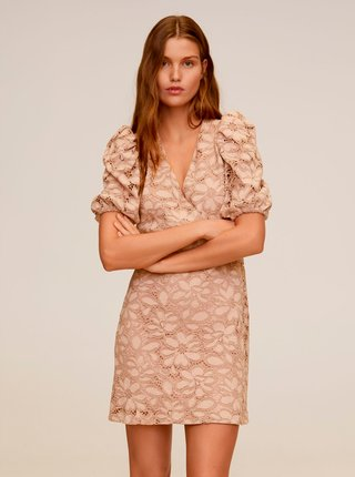 Béžové krajkové šaty Mango Katri