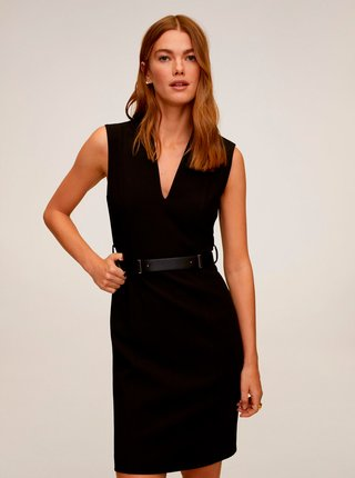 Černé pouzdrové šaty Mango Una