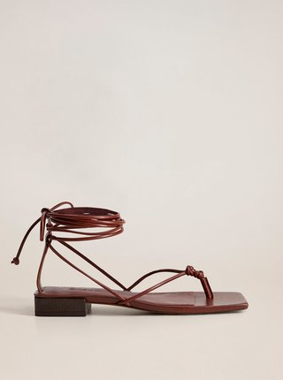 Vínové kožené sandály Mango Cordon
