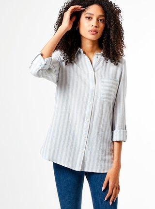 Svetlomodrá pruhovaná košeľa s prímesou ľanu Dorothy Perkins