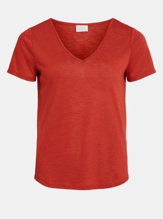 Červené basic tričko VILA