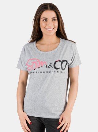 Šedé dámske tričko s potlačou SAM 73